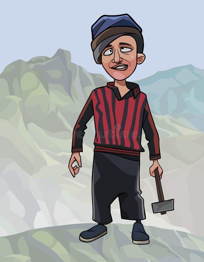 Kreskówka pracownika śmieszny facet z młotem w jego ręce royalty ilustracja