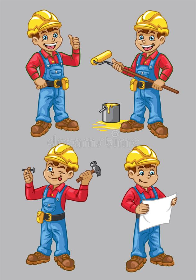 Kreskówka pracownika budowlanego charakter w secie ilustracji