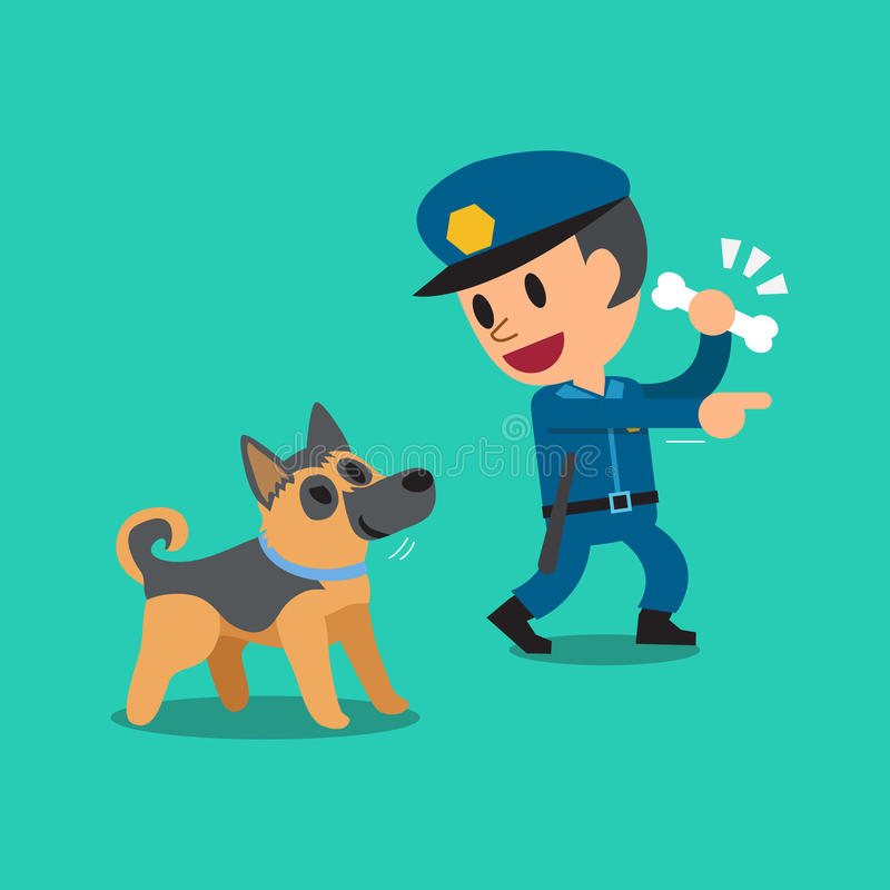 Kreskówka pracownika ochrony policjant i milicyjny strażowy pies ilustracji