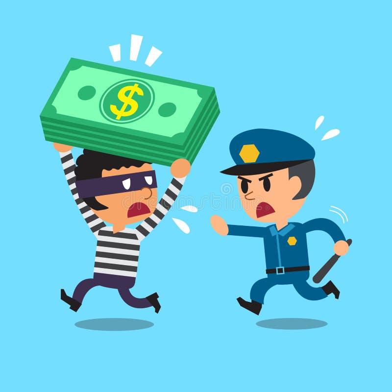 Kreskówka pracownika ochrony policjant i złodziej ilustracji