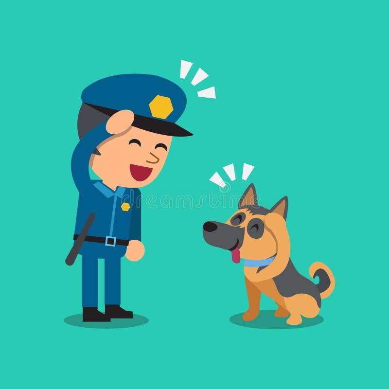 Kreskówka pracownika ochrony policjant z jego strażowym psem royalty ilustracja