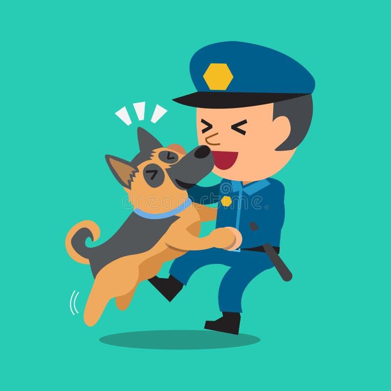 Kreskówka pracownika ochrony policjant z jego strażowym psem ilustracji