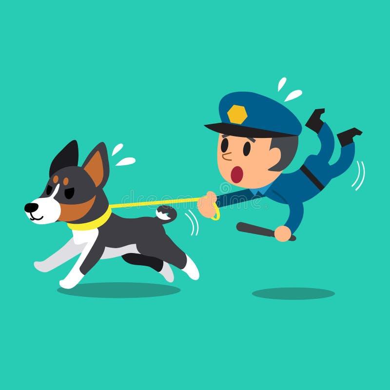 Kreskówka pracownika ochrony policjant z milicyjnym strażowym psem royalty ilustracja