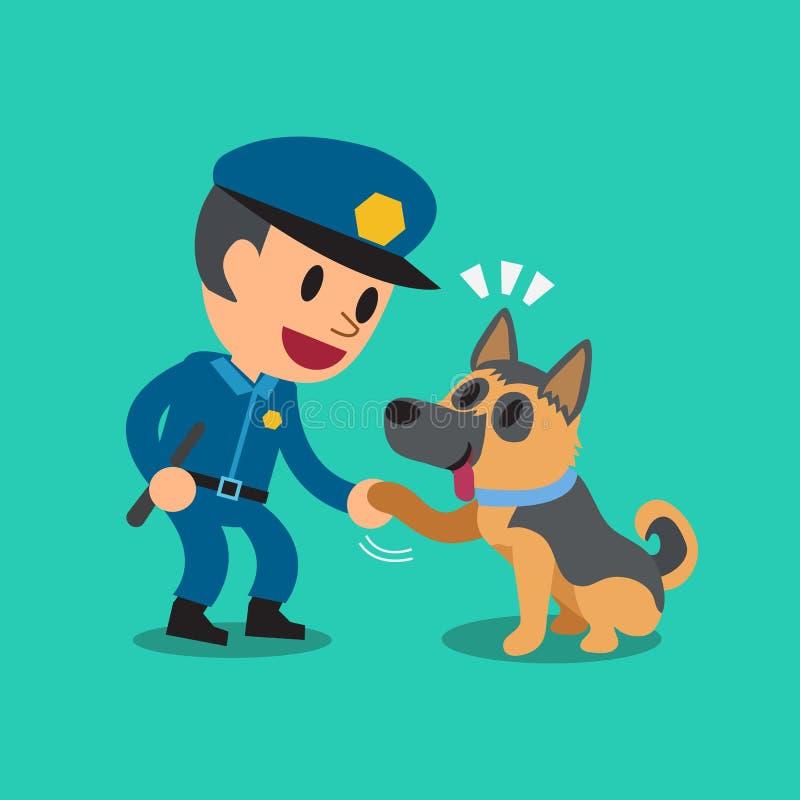 Kreskówka pracownika ochrony policjant z milicyjnym strażowym psem ilustracja wektor