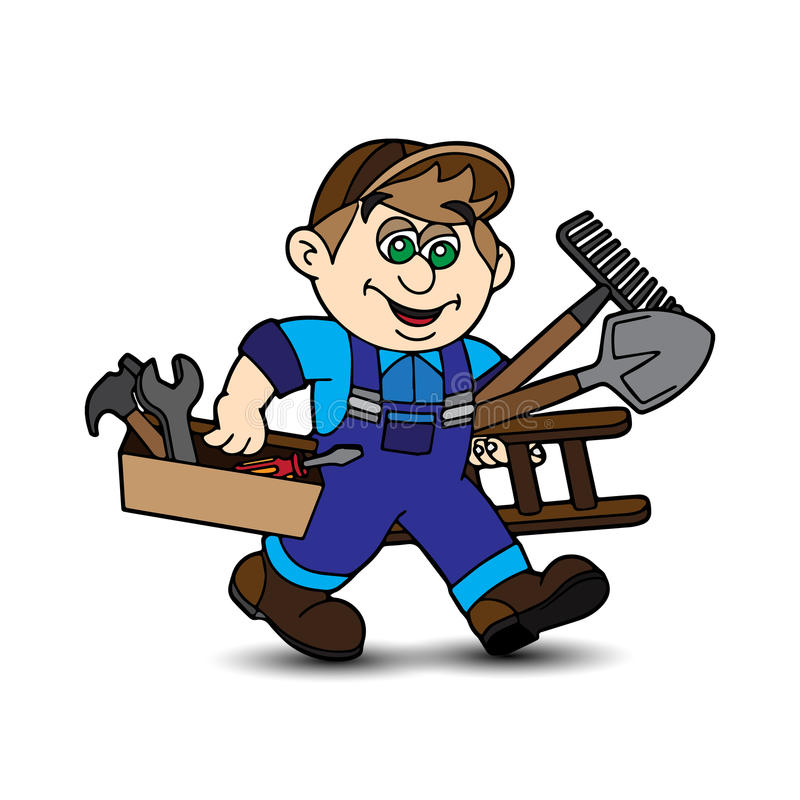Kreskówka pracownika przewożenia narzędzia w rękach ilustracji