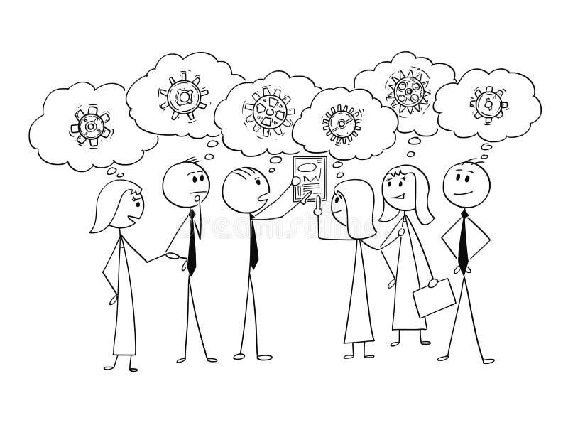 Kreskówka Pracuje Wpólnie Znajdować Problemowego rozwiązanie biznes drużyna royalty ilustracja
