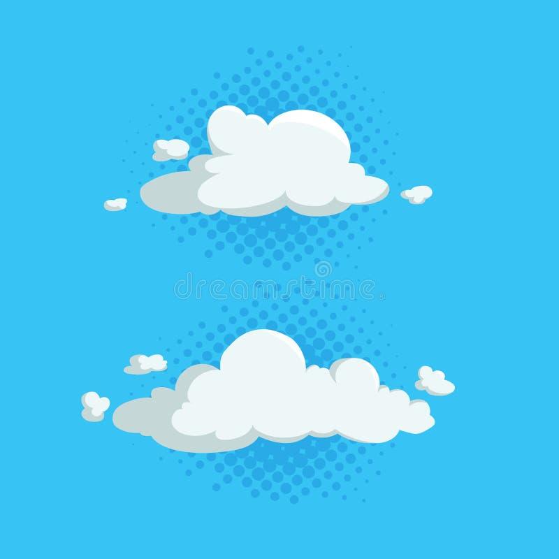 Kreskówka projekta śliczne obłoczne modne ikony ustawiać na połówce - tonuje błękitnych okręgi Wektorowa ilustracja pogody lub ni royalty ilustracja