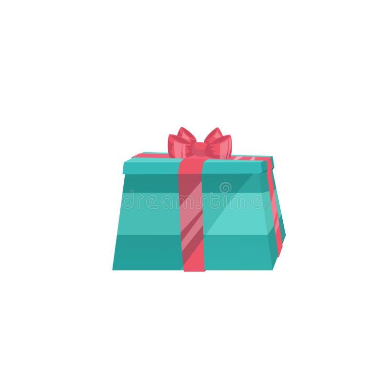 Kreskówka projekta błękitnego papieru prezenta modny pudełko z czerwonym faborkiem Bożych Narodzeń, urodziny i przyjęcia symbol, ilustracji