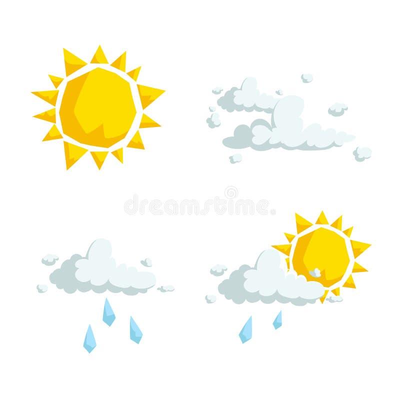 Kreskówka projekta pogody modne ikony ustawiać Słońce, puszyste chmury, podeszczowa chmura i częsciowo chmurny symbol, royalty ilustracja