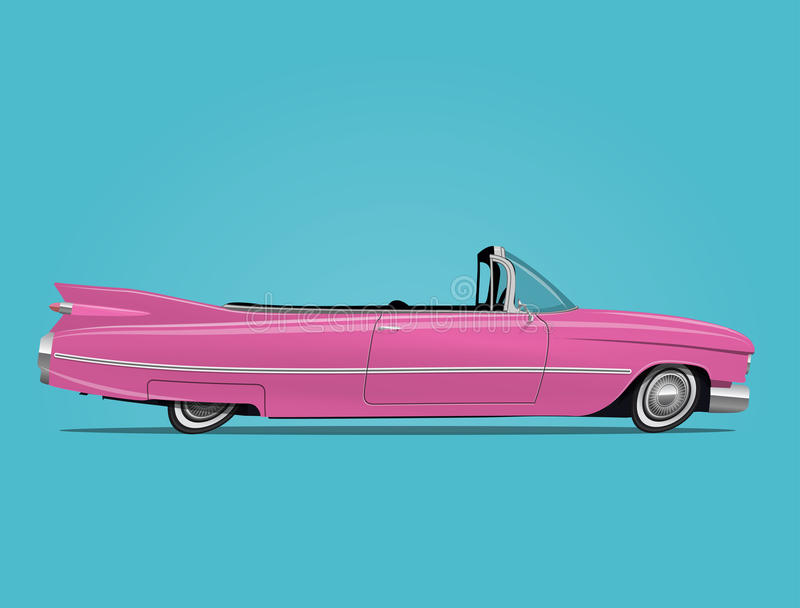 Kreskówka projektował wektorową ilustrację różowy retro samochodowy kabriolet ilustracja wektor