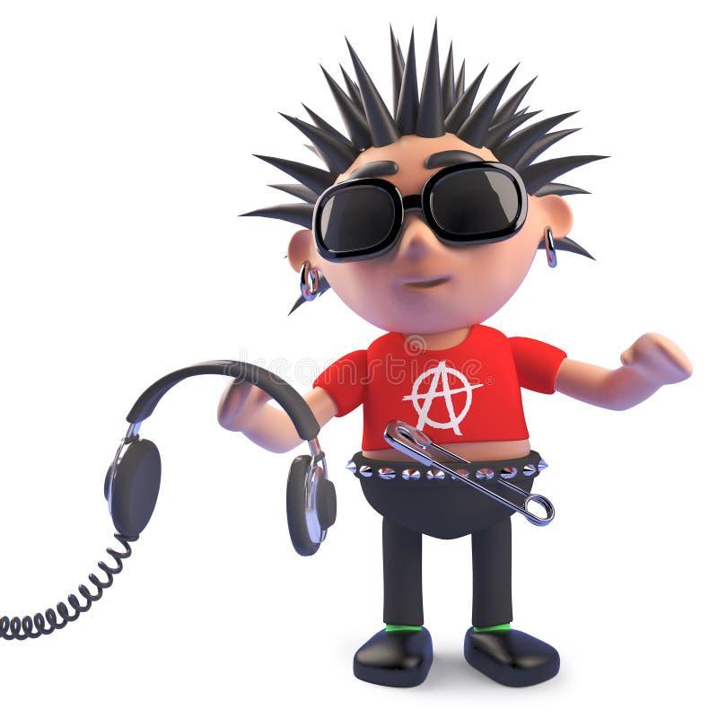 Kreskówka przegniły punkowy charakter trzyma niektóre hełmofony, 3d ilustracja ilustracji
