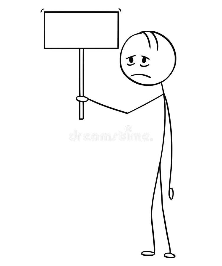 Kreskówka Przygnębionego lub Zmęczonego mężczyzny mienia Pusty znak ilustracji