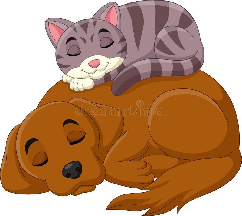 Kreskówka psa i kota dosypianie ilustracja wektor