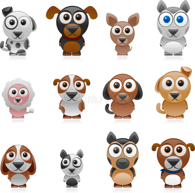 Kreskówka psa set royalty ilustracja