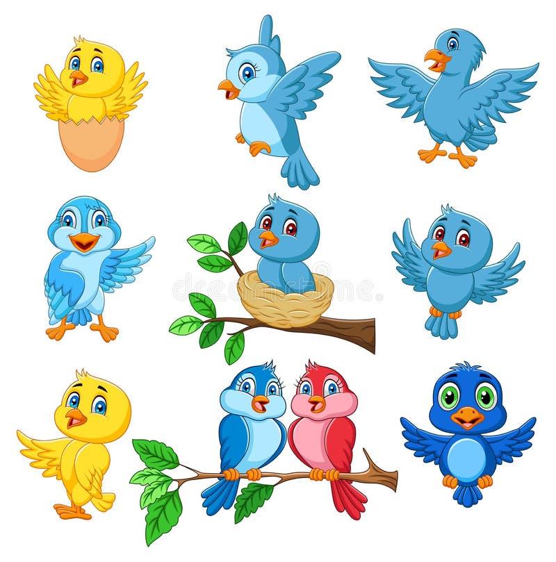 Kreskówka ptaków kolekci szczęśliwy set royalty ilustracja