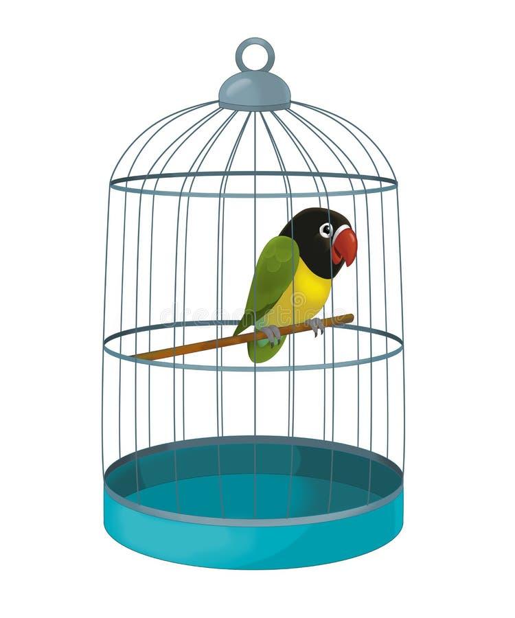 Kreskówka ptak ilustracja dla dzieci - papuga - royalty ilustracja