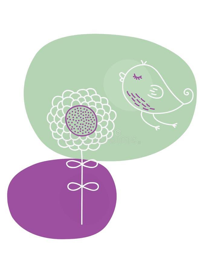 kreskówka ptasi kwiat royalty ilustracja