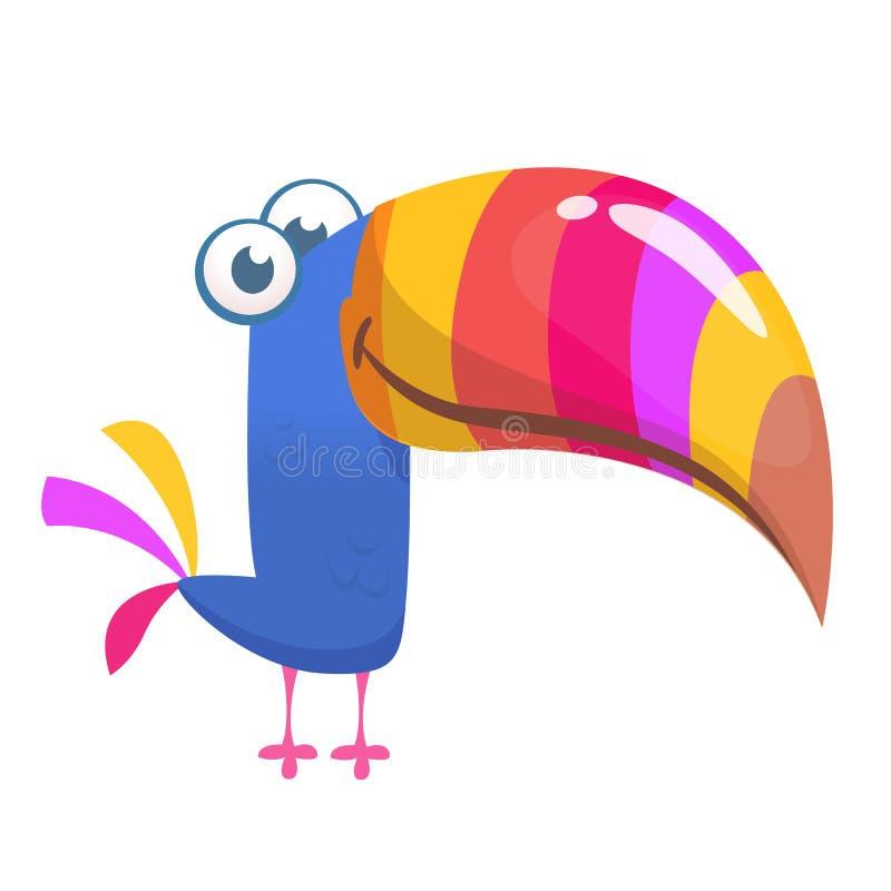 kreskówka ptasi pieprzojad Wektorowa ilustracja szczęśliwy tukan odosobniony ilustracja wektor