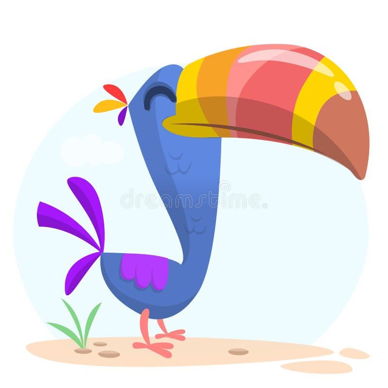 kreskówka ptasi pieprzojad Wektorowa ilustracja szczęśliwy tukan odosobniony ilustracji