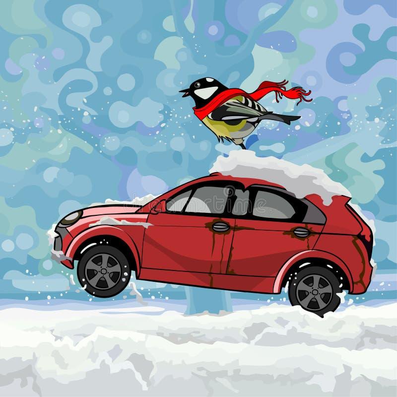 Kreskówka ptasi trzepotliwy szalik, siedzi na samochodzie popędza na śniegu w zimie ilustracja wektor