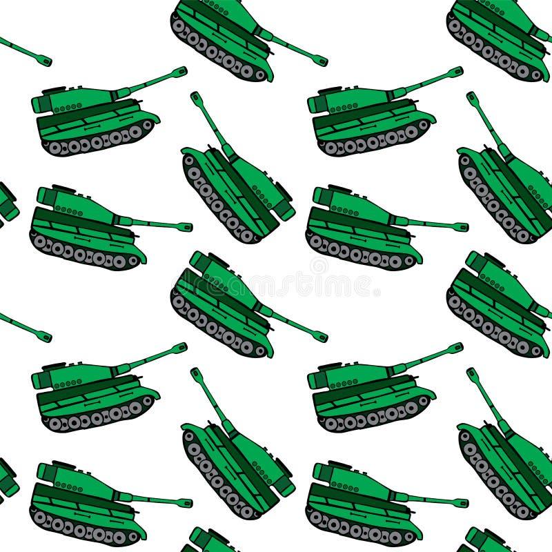Kreskówka ręka rysujący zielony zbiornik, bezszwowy wzór ilustracja wektor