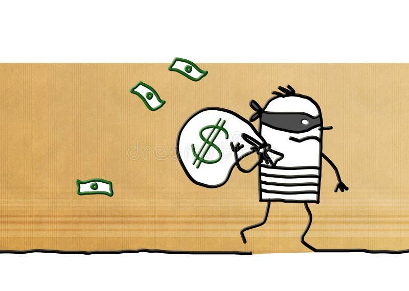 Kreskówka rabuś działający z dolar paczką daleko od ilustracji