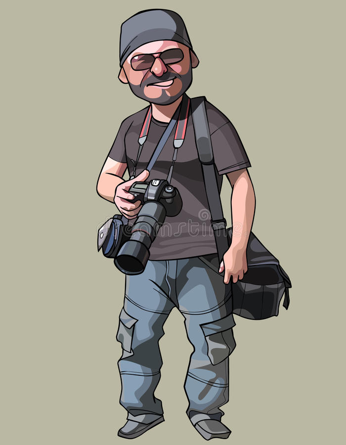 Kreskówka radosny męski fotograf z kamerą w ręce ilustracja wektor