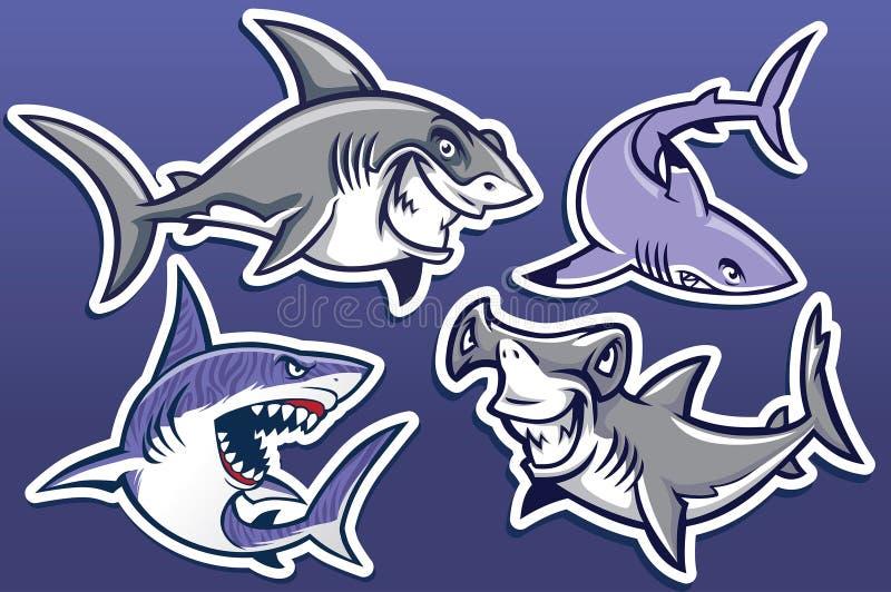 Kreskówka rekin kolekci set royalty ilustracja