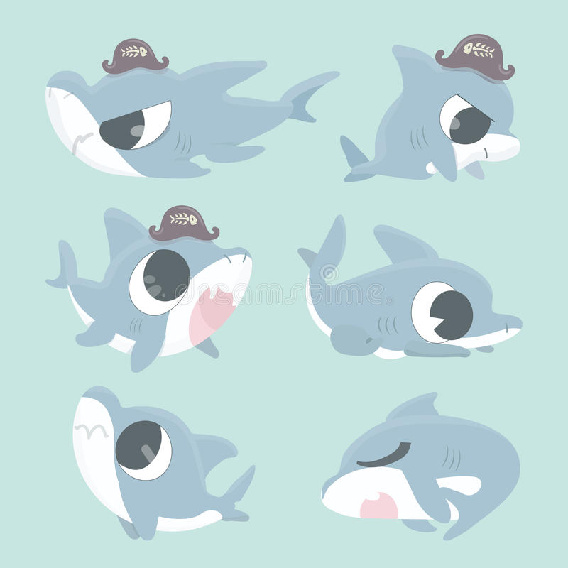 Kreskówka rekinu kolekci set ilustracji