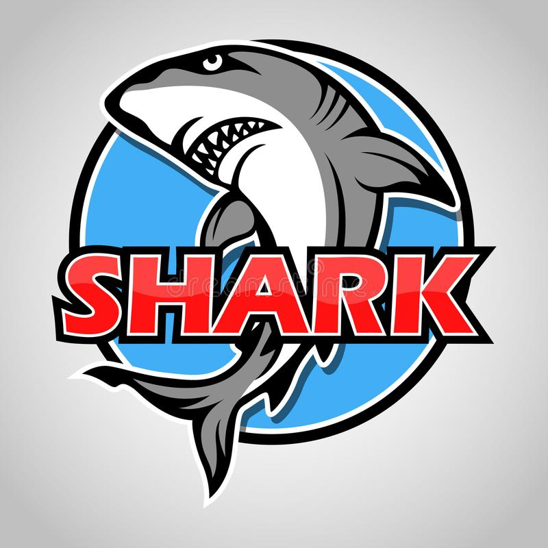 Kreskówka rekinu maskotka z błękitnym okręgiem na szarym tle ilustracji