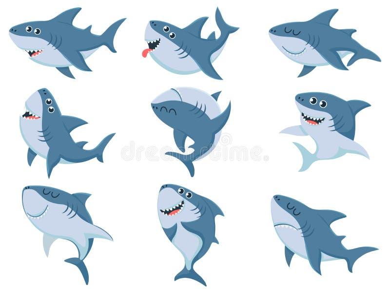 Kreskówka rekiny Komiczni rekinów zwierzęta, straszne szczęki i ocean, pływa gniewnych rekinów ilustracji wektorowego set ilustracja wektor