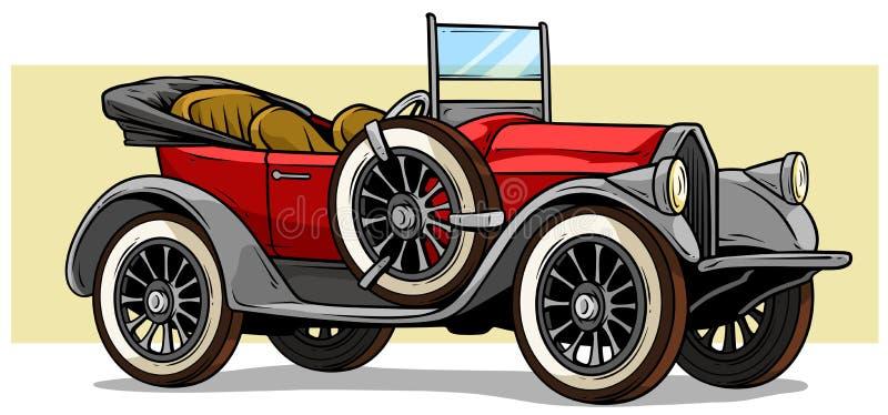Kreskówka retro rocznika luksusowy odwracalny samochód royalty ilustracja