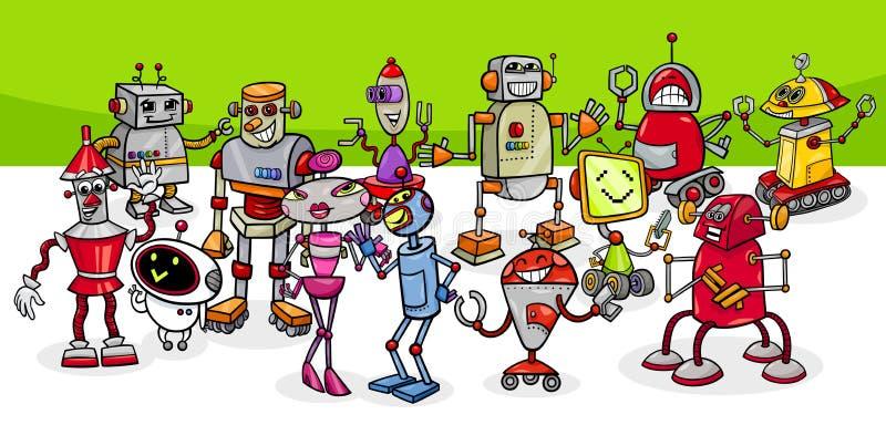 Kreskówka robotów fantazji charakterów konceptualna grupa royalty ilustracja