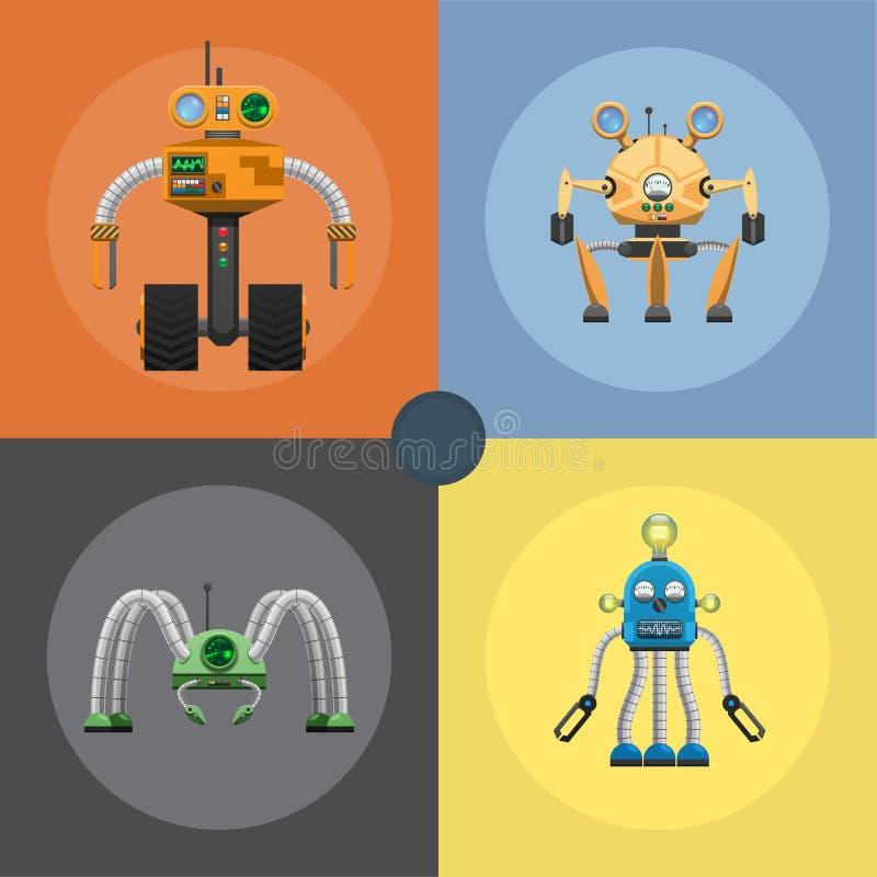 Kreskówka robotów Machinalne Stalowe ilustracje Ustawiać ilustracji