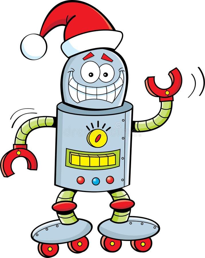 Kreskówka robot jest ubranym Santa kapelusz ilustracji