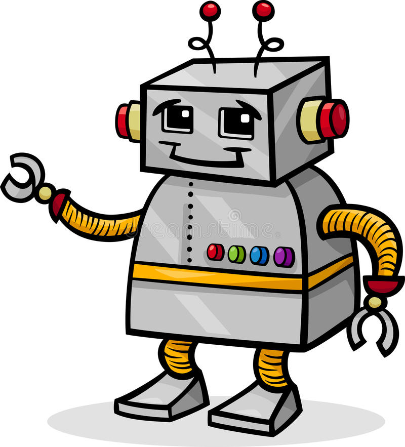 Kreskówka robot lub droid ilustracja royalty ilustracja
