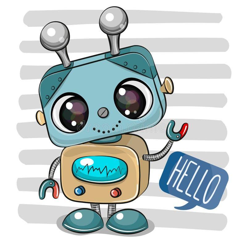 Kreskówka robot na pasiastym tle ilustracja wektor