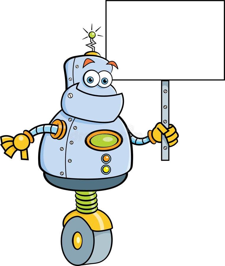 Kreskówka robot trzyma znaka royalty ilustracja
