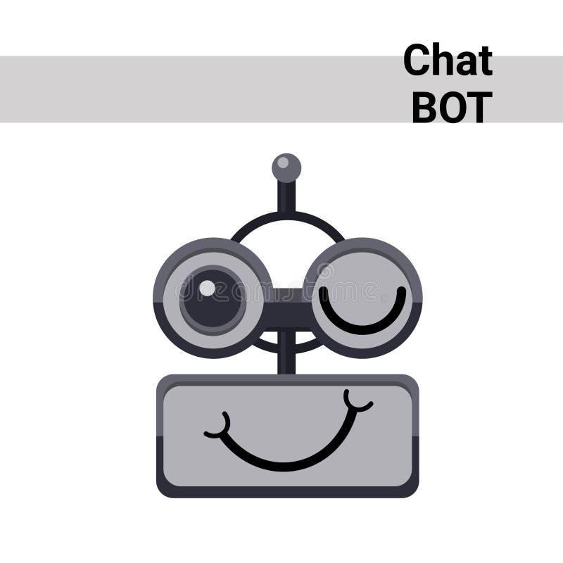 Kreskówka robota twarzy emoci mrugnięcia gadki larwy Uśmiechnięta Śliczna ikona royalty ilustracja