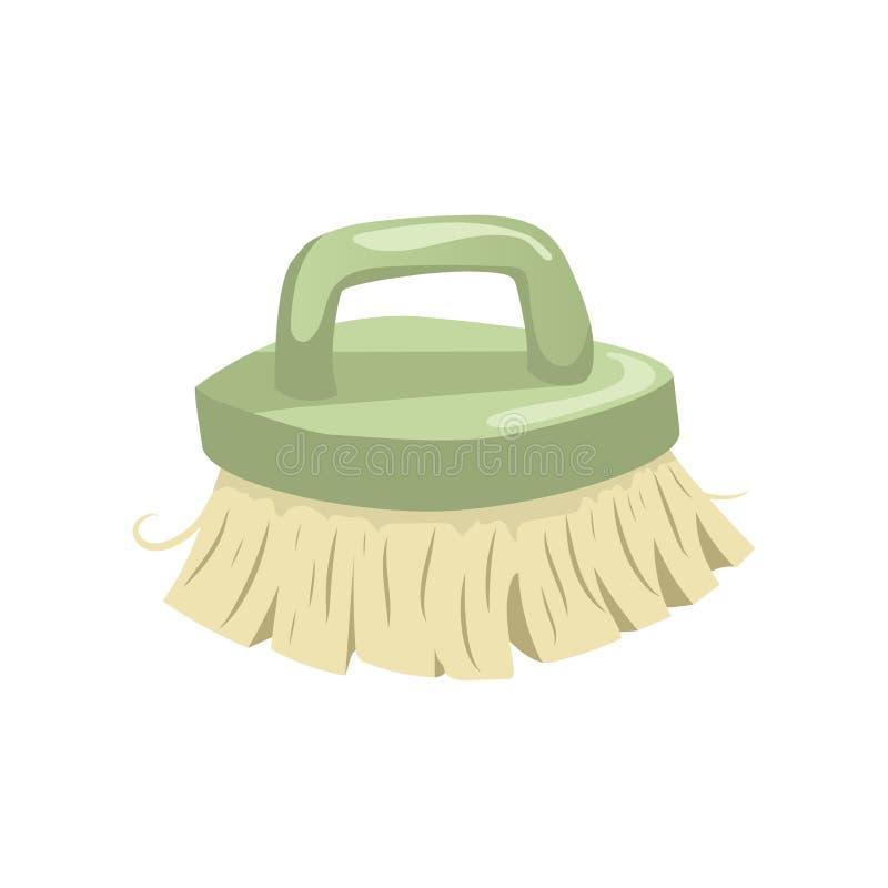 Kreskówka rocznika modna ikona cleaning szczecina muśnięcie Sprzątanie wektorowa prosta gradientowa ikona zielona rękojeść royalty ilustracja