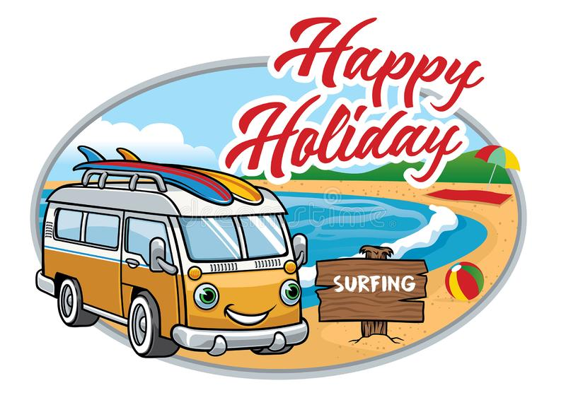 Kreskówka rocznika samochód dostawczy przy plażą royalty ilustracja