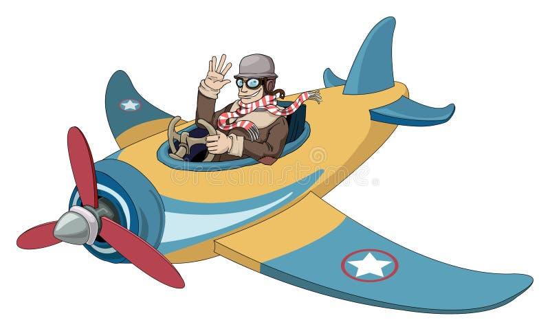 Kreskówka rocznika samolot ilustracji