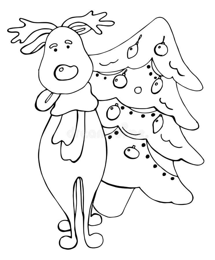 Kreskówka rogaczy i jedlinowego drzewa wektoru elementy ilustracja wektor