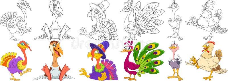 Kreskówka rolni ptaki ustawiający royalty ilustracja