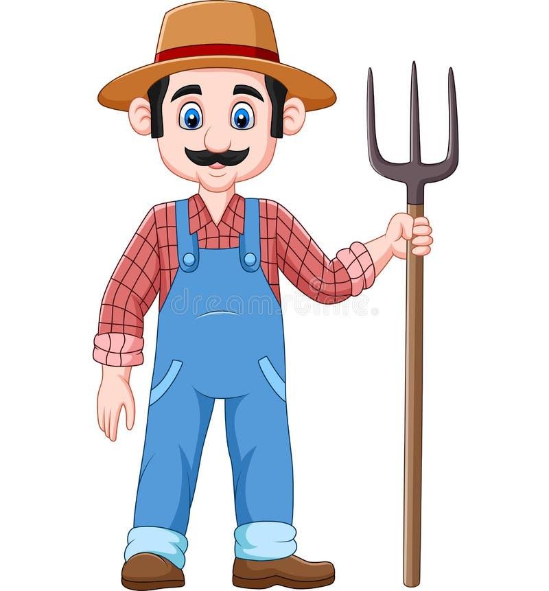 Kreskówka rolnik trzyma pitchfork royalty ilustracja