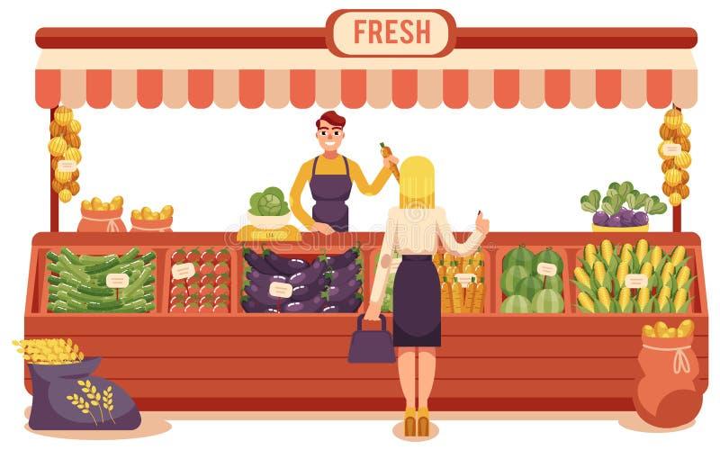 Kreskówka rolnika rynku pojęcia lokalny wektor royalty ilustracja