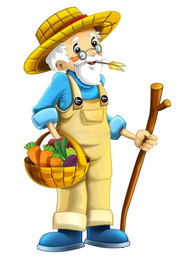Kreskówka rolny charakter odosobniony - stary rolnik - ilustracji