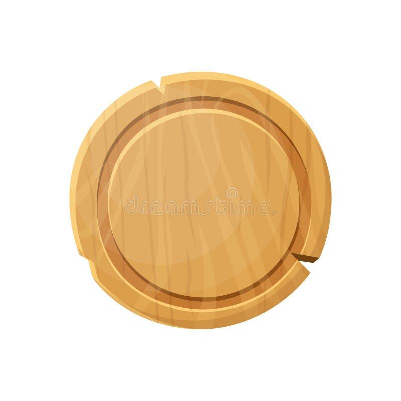 Kreskówka round drewniany talerz Stara zachodnia drewno deska royalty ilustracja