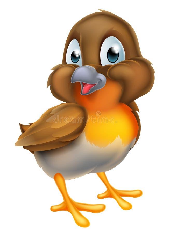 Kreskówka rudzika Bożenarodzeniowy ptak ilustracji
