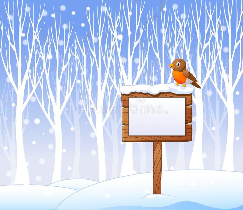 Kreskówka rudzika ptak na pustym znaku z zimy tłem ilustracji